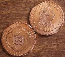 1808 Jersey Retro Pattern Proof Crown Pure Copper George III Coin w/COA