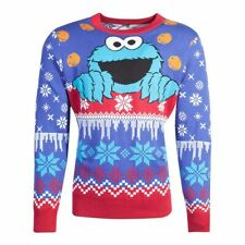 SESAME STREET Cookie Monster Knitted Christmas Sweater Extra Large