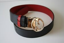 Gucci Belt Leather Unisex 450000 Size 95 Black Red Gold