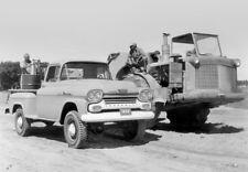 1958 Chevrolet Apache 4x4 Pickup Truck w/ Road Grader, B&W, Refrigerator Magnet