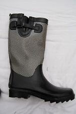 Black & White Chevron Pattern CAPELLI Tall Rubber Boots w/Strap 6