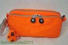 Kipling Chap Pen Case / Cosmetics Makeup Pouch organizer- Brite Orange