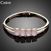 Fashion Women Three Big Opal Bangle Austrian Crystal 18K Gold Plated Bracelet