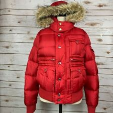 True Religion Bright Red Goose Down Detachable Hood Puffer Jacket Size M
