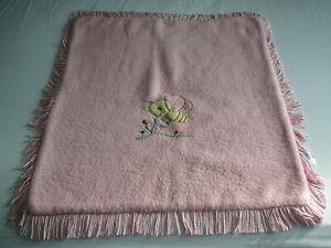 Vintage Pink/White Fringed Baby Courtelle Blanket Pram Bassinet Cover