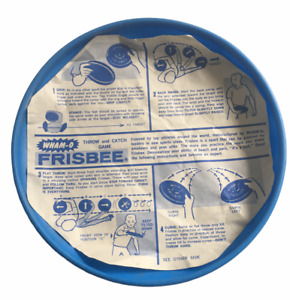 Vintage 1966 / 1968 Wham-O Frisbee Flying Saucer BLUE W/ DIRECTIONS ORIG PAPER