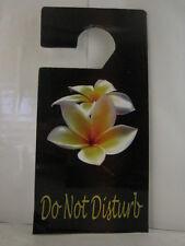 DO NOT DISTURB DOOR HANGER SIGN  YELLOW PLUMERIA  FLOWERS  DESIGN