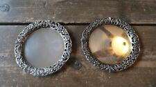 """Pair of Antique German CHRISTOPH WIDMANN 800 Sterling Silver 4"""" Coasters"""