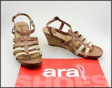 ARA WOMEN'S WEDGED HEEL BROWN SANDALS SHOES SIZE 9.5