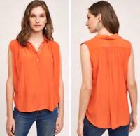 New Maeve Anthropologie Small Silk Orange Sleeveless Henley Top Shirt Blouse