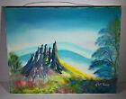 Vintage Oil Painting Art Mountain View Landscape on Canvas Signed T. McLain