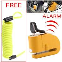 Heavy Duty  Motorbike Bike Disc Lock Alarm 2 Keys Security + Reminder Cable 1.5M