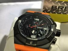 BREED Titan Orange Silicone Black Dial Ion-plated Steel Men's Watch 3705