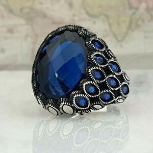 925 Sterling Silver Man Ring Blue Sapphire Gemstone Handmade Ottoman Style
