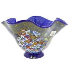 GlassOfVenice Murano Glass Millefiori Fazzoletto Bowl - Cobalt Blue