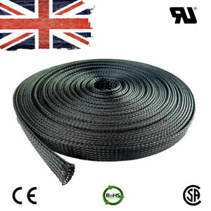 Black Nylon Expand Sheathing Braided Wire Cable Protect Sleeve Various Size #436