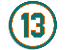 4x4 inch ROUND 13 Dolphins Colors Number Sticker -decal miami florida dan marino