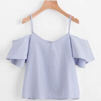 Fashion Women Plus Size Loose Casual Stripe Blouse Off Shoulder Tank Top T Shirt