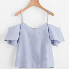Fashion Women Plus Size Loose Casual Stripe Blouse Off Shoulder Tank Top T Shirt