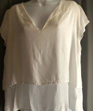 Cloth & Stone Womens Small Shirt Open Back Short Sleeved Light V Neck Top