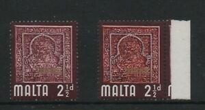 Malta 1965 2.5d SG334a orange omitted variety MNH stamp cat £110 with normal