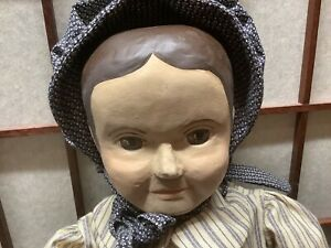 """Reproduction of Antique Izannah Walker Oil Painted Face 21"""" Doll USPS"""