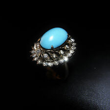 Art Deco Turquoise Diamond Ring 18K Gold 1930s Gatsby Jewelry Wedding Bridal