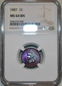 NGC MS-64 BN 1887 Indian Head Cent, Vibrantly toned, Glossy specimen.