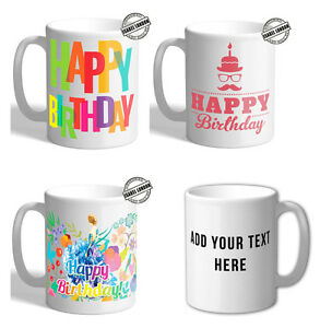 Beautiful Personalised Birthday Mugs & Coaster Customise with your own text. FOC