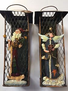 Ganz Angel & Vintage Santa Metal Lantern Style Candle Holders 8 inch Christmas