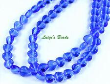 50 Sapphire Blue Czech Pressed Glass Heart Beads 6/6mm