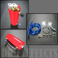 RED TURBO OIL CATCH CAN TANK RESERVOIR 750ML JDM ALUMINUM DRIFT PERFORMANCE RACE