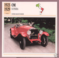1923-1929 OM O.M. Superba Italy Car Photo Spec Sheet Info Stat French Atlas Card