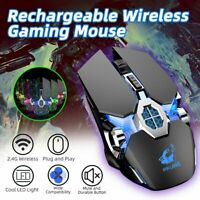 Gaming RGB Backlit Mouse 2.4G Wireless Mice Rechargeable For PC Laptop Win10 OS