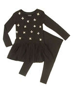 Next Girls Embellished Bodice Mesh Overlay Black Dress & legging set Age 4 SALE