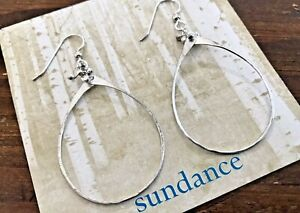 """NEW Sundance Catalog 2-1/2"""" Hoop Sterling Silver Loop Dangle Earrings Handmade"""
