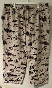 Nick And Nora MENS  SIZE XL SLEEP. PJ PANTS. Skier Forest Print