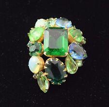 "Vintage Blue, Green, Opalescent Glass Rhinestone Pin Brooch 2 1/8"" x 1 1/2"""