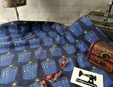 50cm licensed BBC Doctor Who Tardis cotton lycra 4 way stretch knit fabric