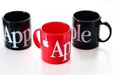 VTG Lot of 3 Apple Computer Mugs Retro Black Red Plastic Spellout Cups Macintosh