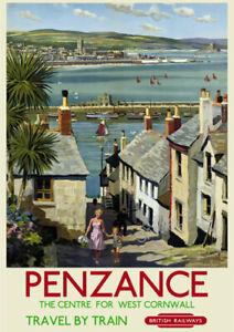 VINTAGE RAILWAY POSTER Penzance Cornwall Travel Tourism Advert Art PRINT A3 A4
