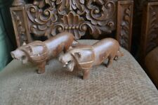 2 Vintage Small Hand Carved Wood Lion Sculpture African Art Decor