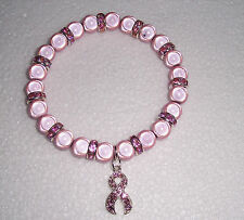 Pink Miracle Bead Bracelet with Pink Ribbon Charm - Breast Cancer Awareness
