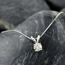 14k White Gold Over 1.00 Ct Round Diamond Solitaire Pendant Necklace For Women's