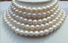 "100"" HUGE 9-10MM ROUND SOUTH SEA GENUINE WHITE PEARL NECKLACE 14K GOLD"