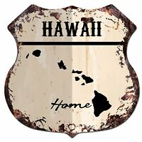 BP0127 HOME HAWAII MAP Shield Rustic Chic Sign Bar Shop Home Decor Gift