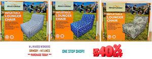 Adventuridge Inflatable Lounger Chair Black/White Pattern/Blue Mosai/Green Leaf