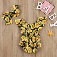 NEW Sunflower Baby Girls Ruffle Romper Sunsuit Jumpsuit Headband Outfit Set
