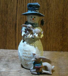 "Birch Hearts Snowmen Figurine  #81080 FRIENDS w/ FAWNS,  by BARB McDONALD 6.25"""