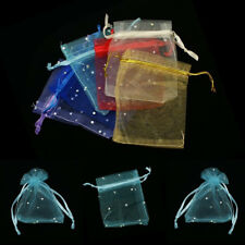100x Sequins Organza Wedding Party Jewelry Gift Candy Bag 9x7 Drawstring Pouches